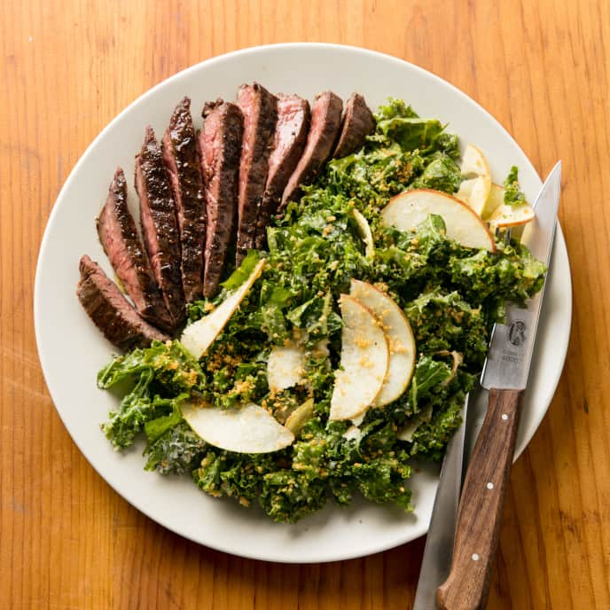 Creamy Kale Salad with Skirt Steak