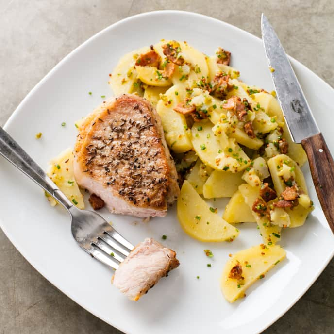 Caraway Pork Chops with Bacon-Mustard Potato Salad