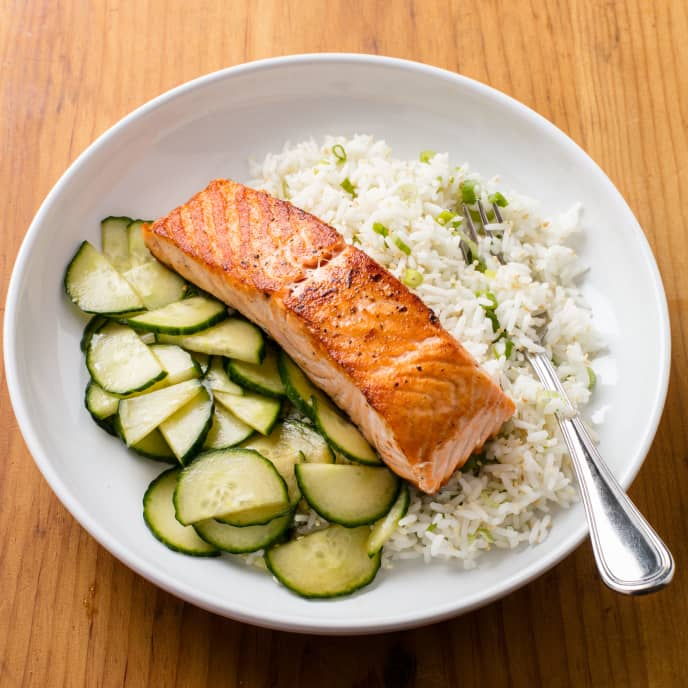 Salmon with Sesame-Scallion Rice and Cucumber Salad