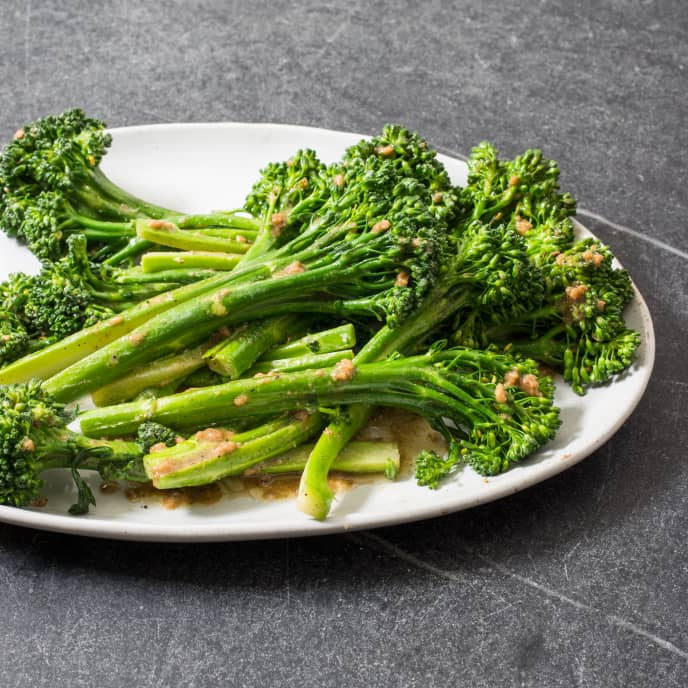 Pan-Steamed Broccolini with Garlic and Mustard