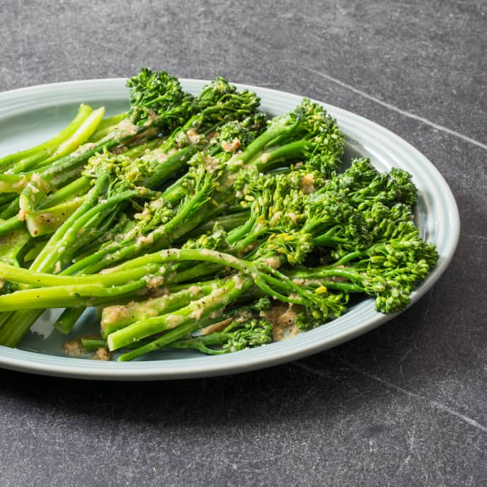 Pan-Steamed Broccolini with Ginger