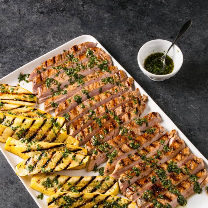 Grilled Pork Tenderloin and Summer Squash with Chimichurri