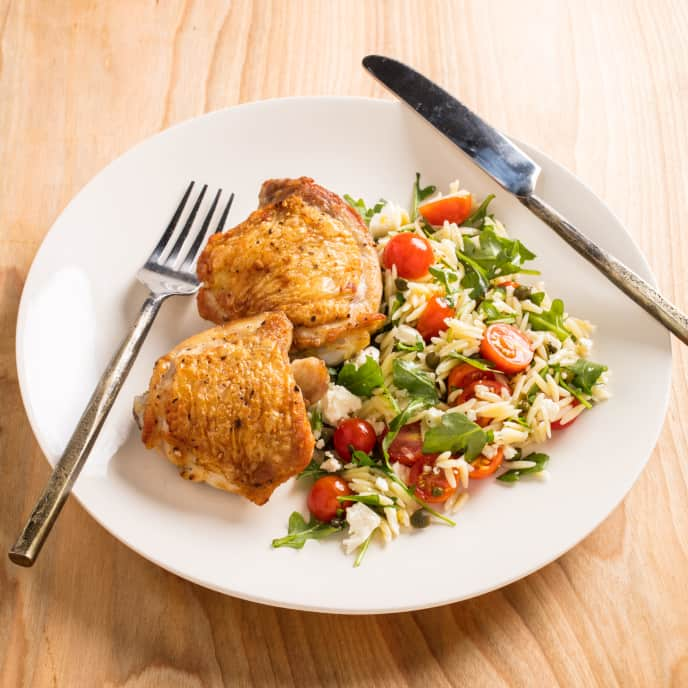 Roasted Chicken with Orzo Salad