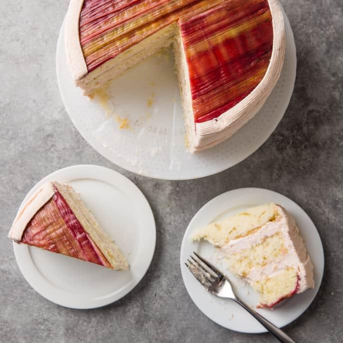 Rhubarb Ribbon Cake
