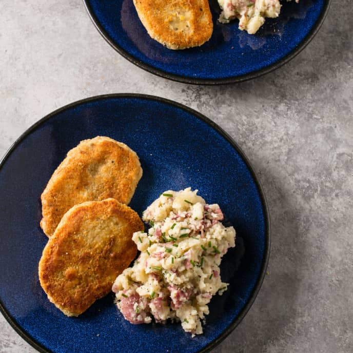 Parmesan-Crusted Pork Cutlets with Chive Mashed Potatoes