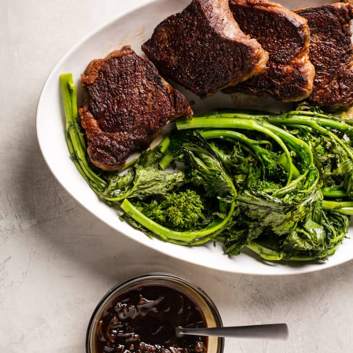 Balsamic-Glazed Strip Steaks with Roasted Broccoli Rabe