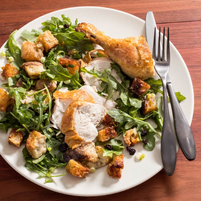 Roast Chicken with Warm Bread Salad