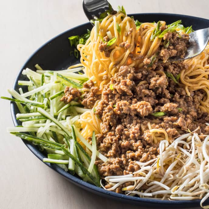 Beijing-Style Meat Sauce and Noodles (Zha Jiang Mian) for Two
