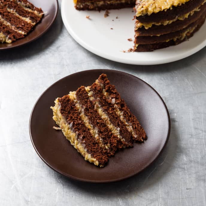 German Chocolate Cake with Coffee, Cashew, and Coconut Filling