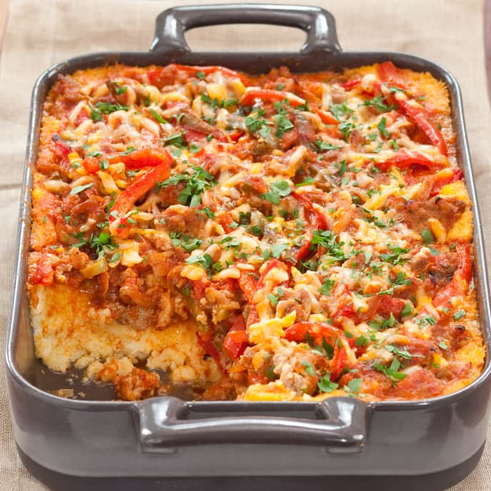 Polenta Casserole with Sautéed Bell Peppers and Sausage