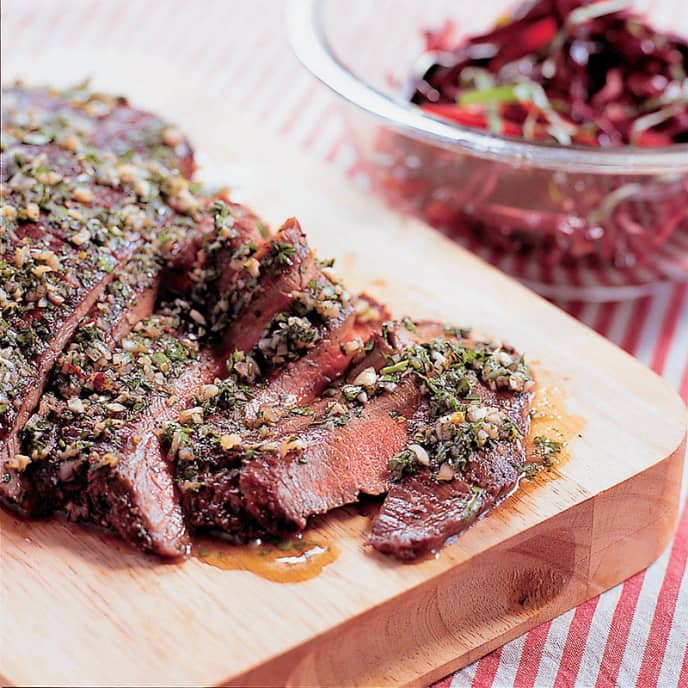 Grilled Flank Steak with Garlic-Parsley Sauce