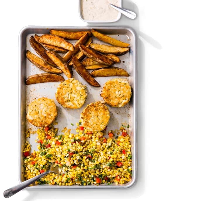 One-Pan Crab Cakes with Roasted Corn and Old Bay Fries