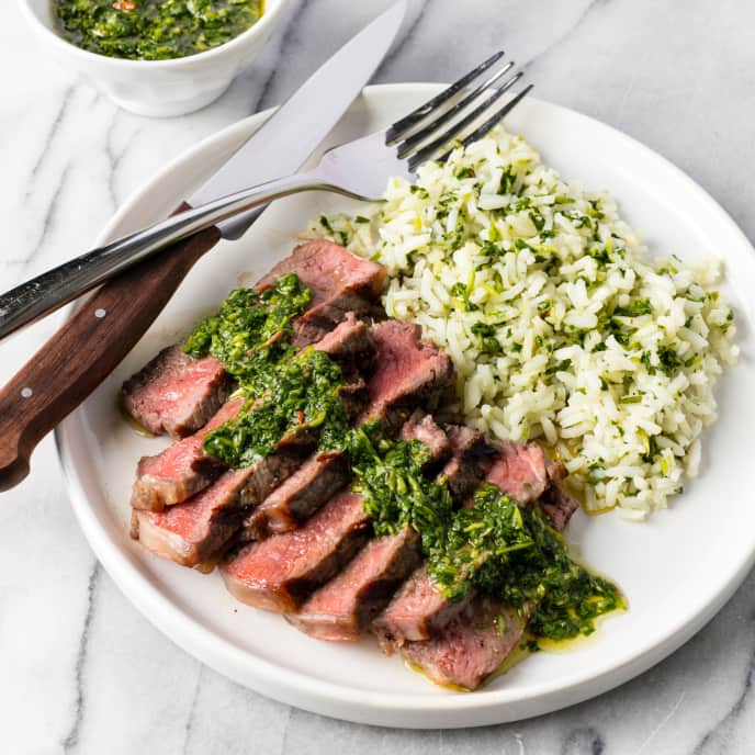 Grilled Strip Steaks with Green Rice and Cilantro Sauce