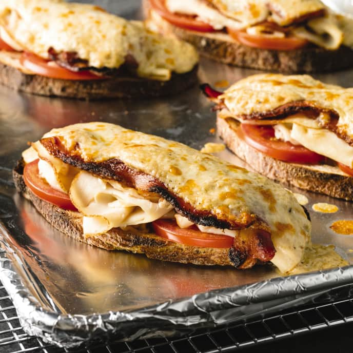 Open-Faced Chicken, Bacon, and Cheddar Melts
