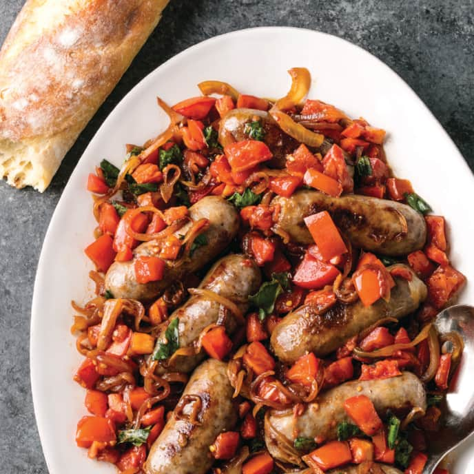 Italian Sausages with Balsamic Stewed Tomatoes