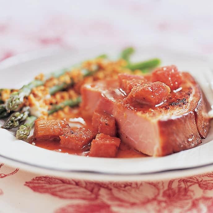 Ham Steak with Rhubarb Sauce