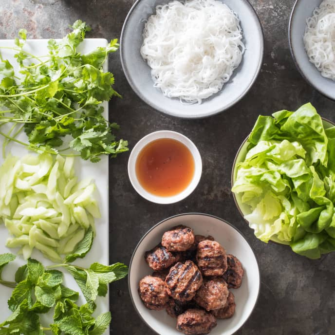 Vietnamese Grilled Pork Patties with Rice Noodles and Salad (Bun Cha)