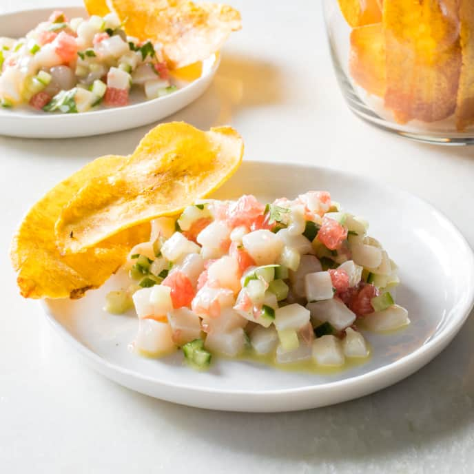 Peruvian Scallop Ceviche with Cucumber and Grapefruit
