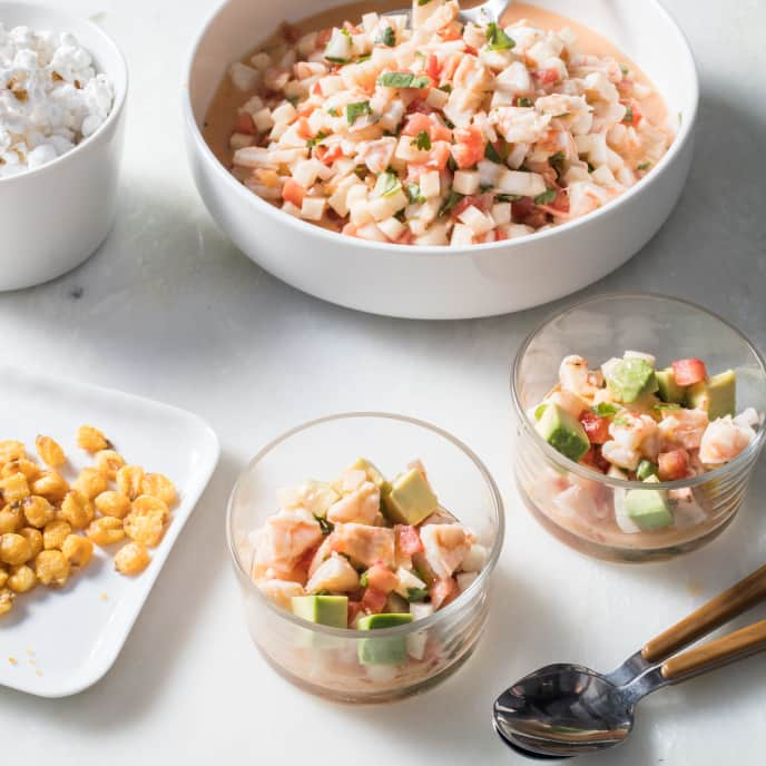 Peruvian Shrimp Ceviche with Tomato, Jícama, and Avocado