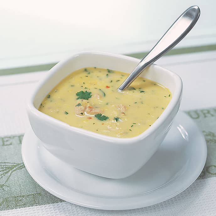 Corn and Chicken Soup with Coconut Milk and Ginger