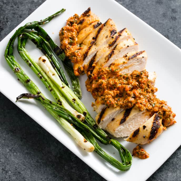 Grilled Chicken and Scallions with Romesco