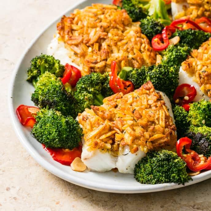 Crunchy Cod with Spicy Broccoli