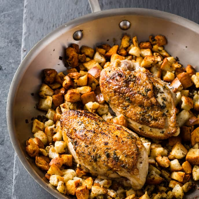 Skillet-Roasted Chicken and Stuffing for Two