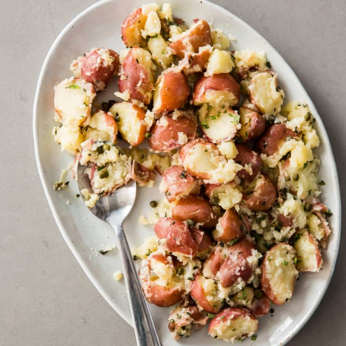Crushed Red Potatoes with Oregano and Capers