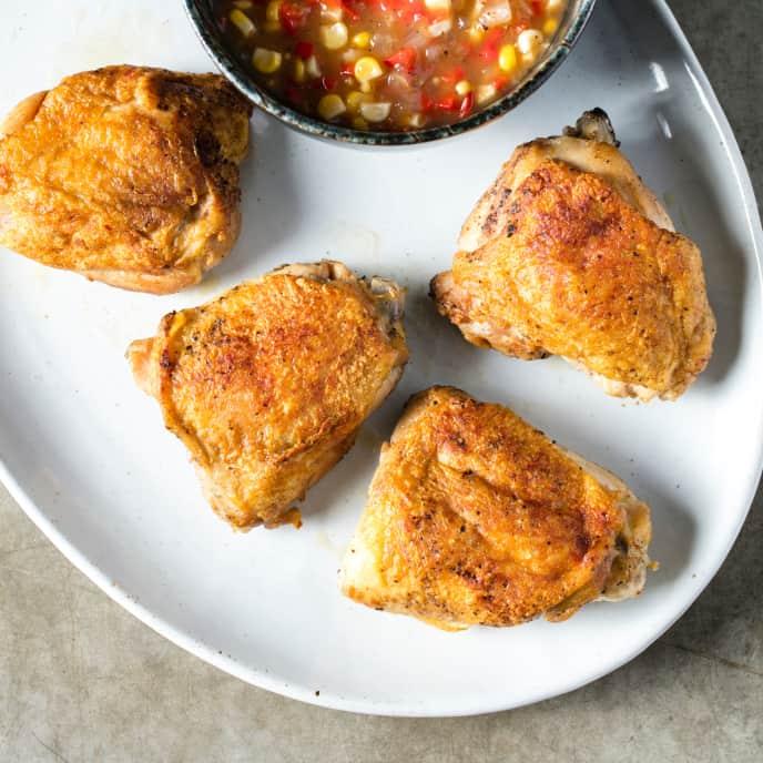 Sous Vide Crispy-Skinned Chicken Thighs