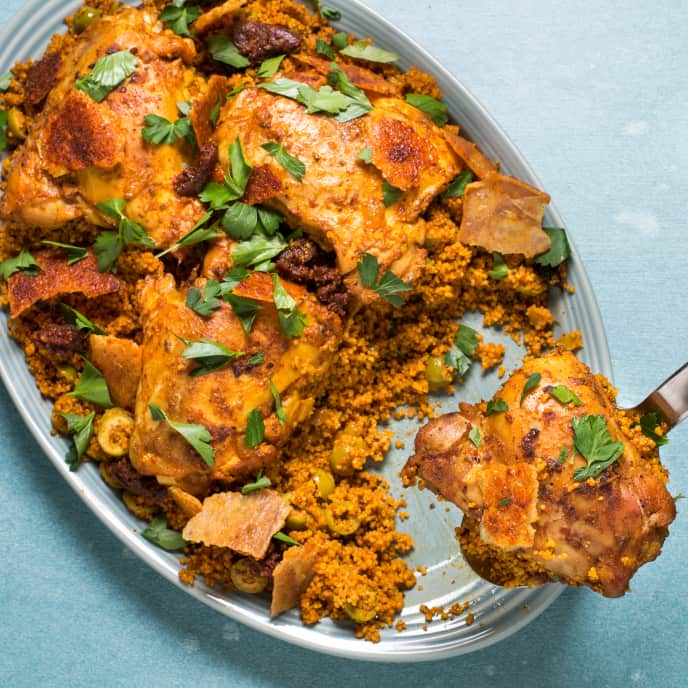 Spiced Chicken and Couscous with Crispy Chicken Skins