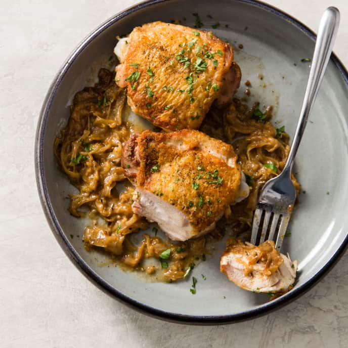 Brandy Chicken with Onions