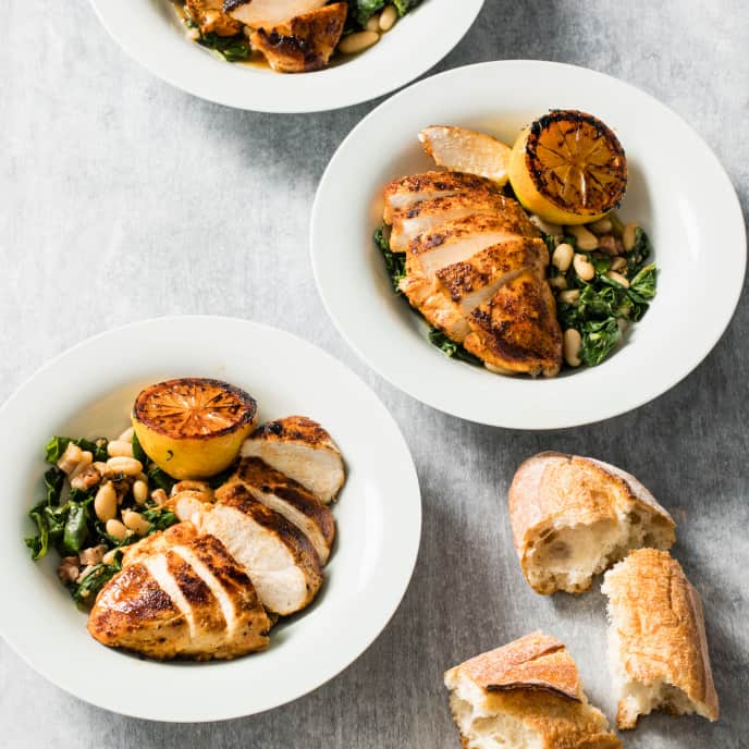 Paprika Chicken with Garlicky Greens and White Beans