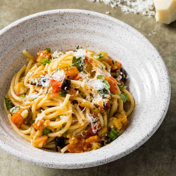Bucatini with Eggplant and Tomatoes