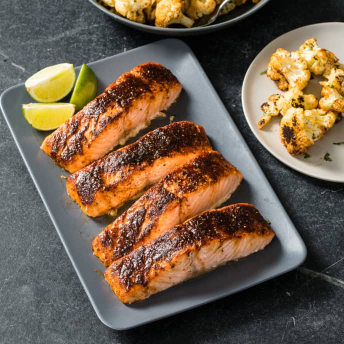Sweet Chili Salmon with Cauliflower and Lime