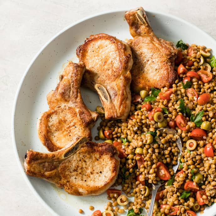 Pan-Seared Pork Chops with Warm Lentil Salad