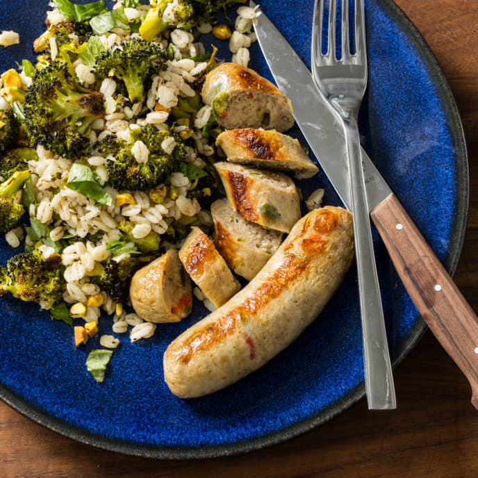 Sheet-Pan Italian Chicken Sausage with Broccoli and Barley