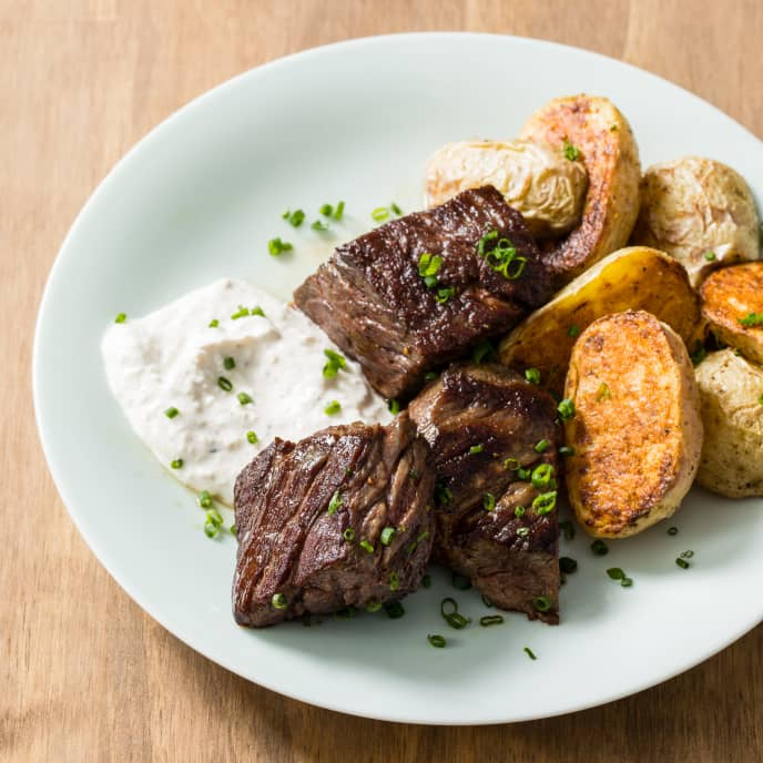 Pan-Seared Steak Tips with Roasted Potatoes and Horseradish Cream