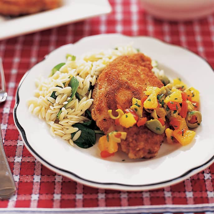 Pan-Fried Pork Cutlets with Orange and Green Olive Salsa