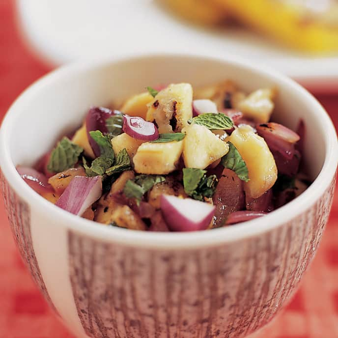 Grilled Banana and Red Onion Salsa