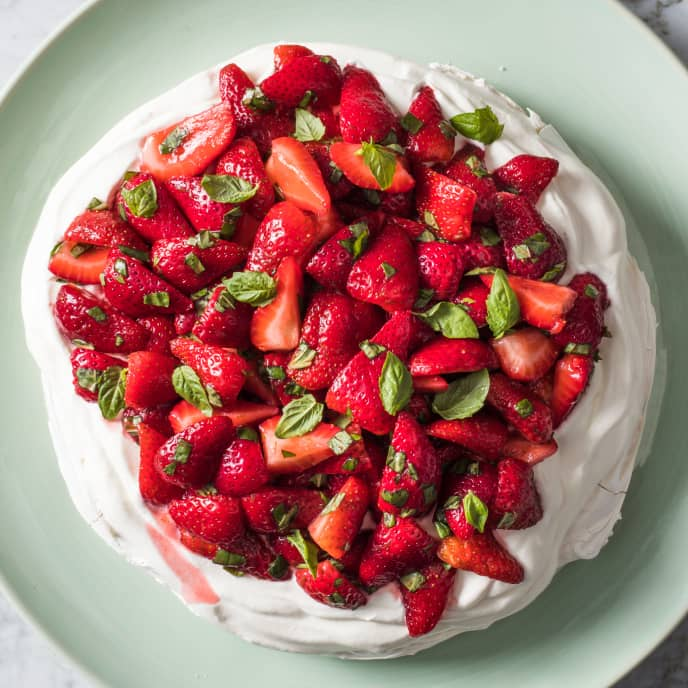 Strawberry, Lime, and Basil Pavlova with Whipped Cream