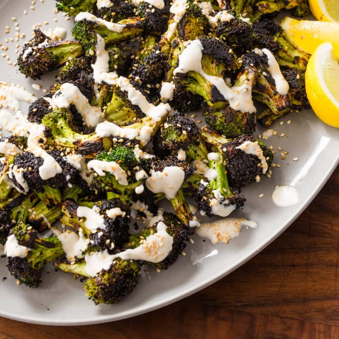 Skillet-Charred Broccoli with Sesame Seeds and Yogurt Sauce