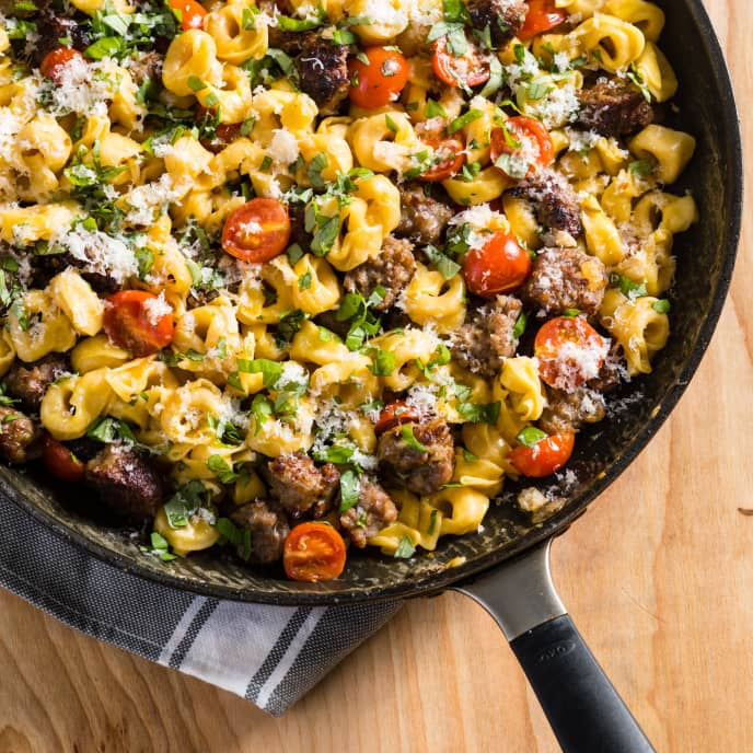 Skillet Tortellini with Sausage and Cherry Tomatoes