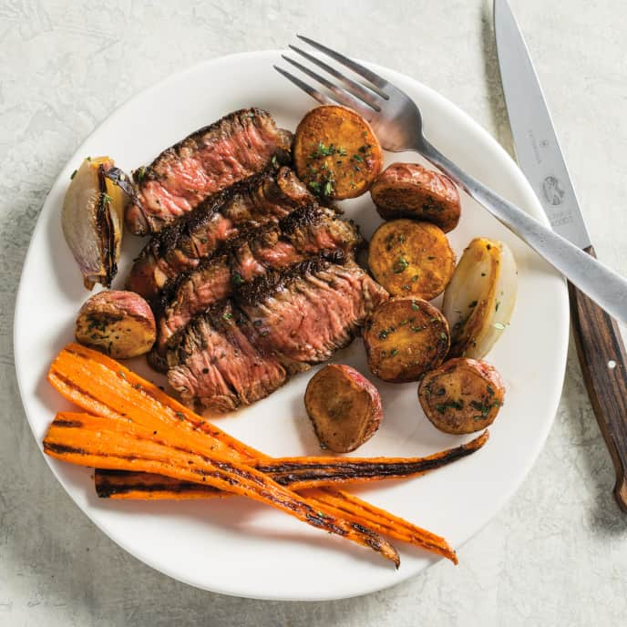 Sage-Crusted Rib-Eye Steaks with Roasted Vegetables