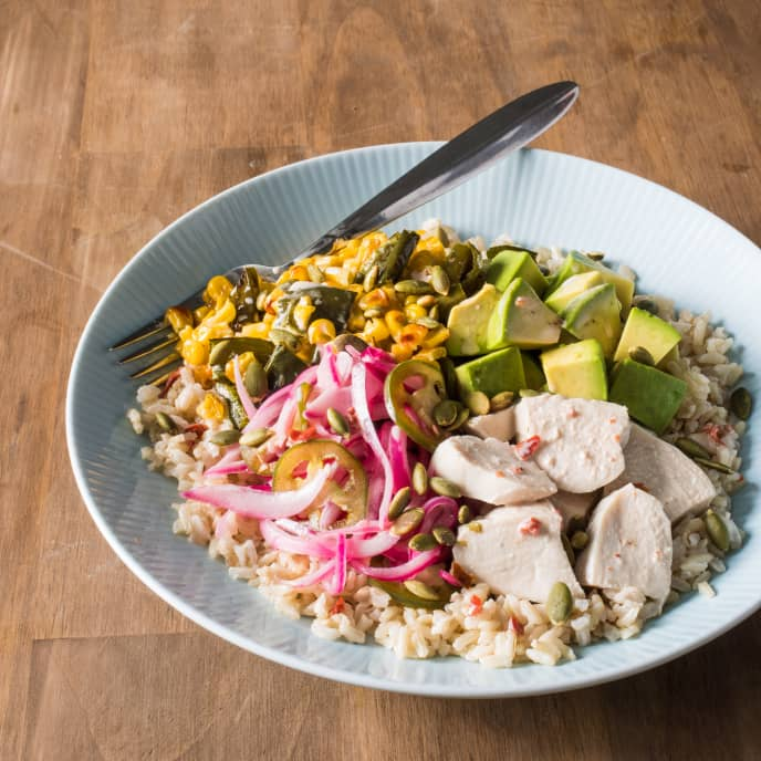 Southwestern Brown Rice Bowl with Vegetables and Chicken