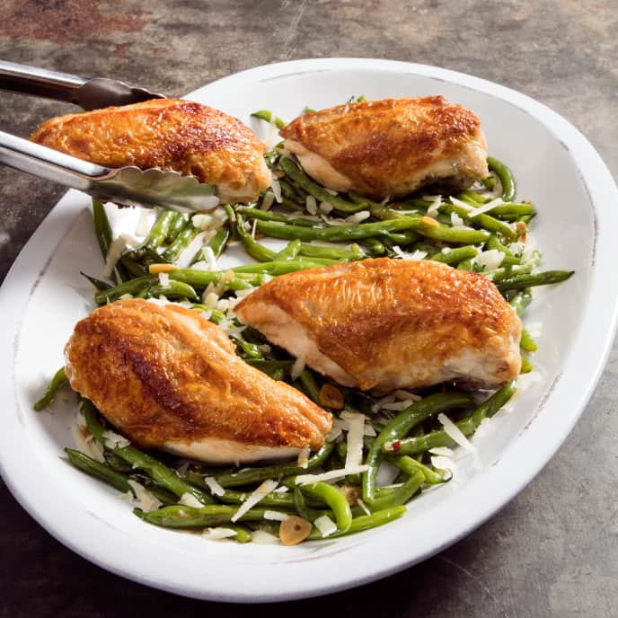 Skillet-Roasted Chicken Breasts with Garlicky Green Beans