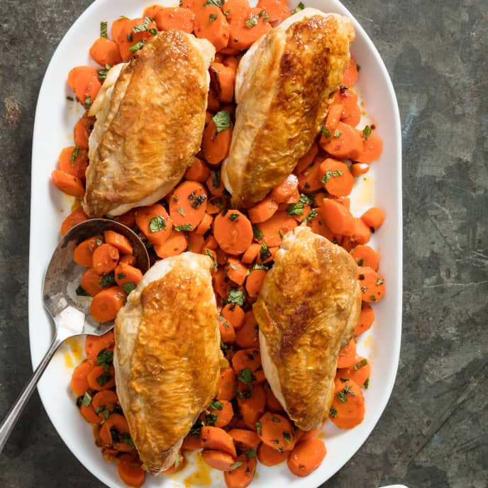 Skillet-Roasted Chicken Breasts with Harissa-Mint Carrots