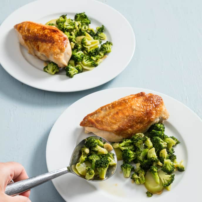 Skillet-Roasted Chicken Breasts with Garlic-Ginger Broccoli for Two