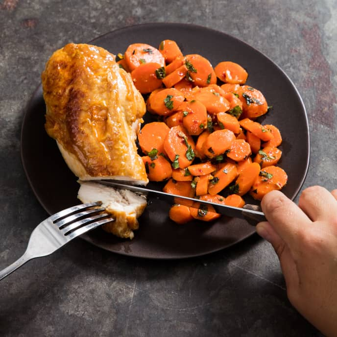 Skillet-Roasted Chicken Breasts with Harissa-Mint Carrots for Two