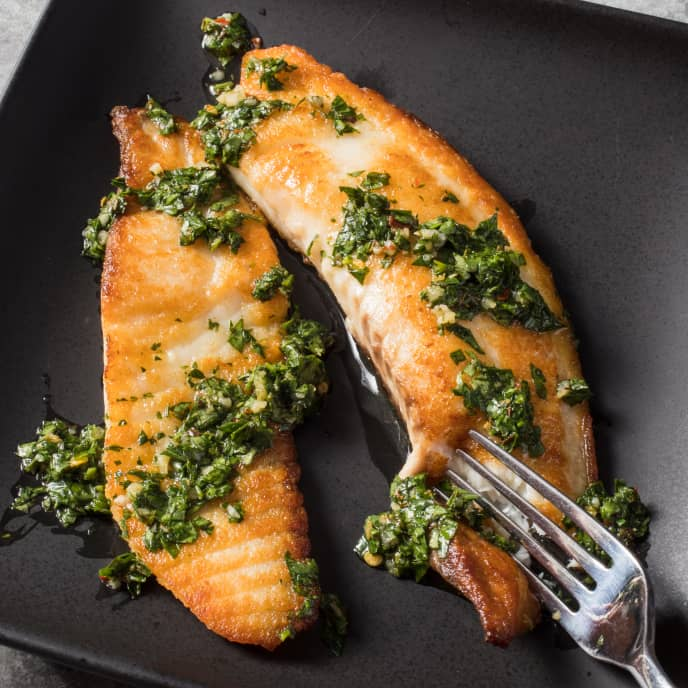 Sautéed Tilapia with Cilantro Chimichurri for Two