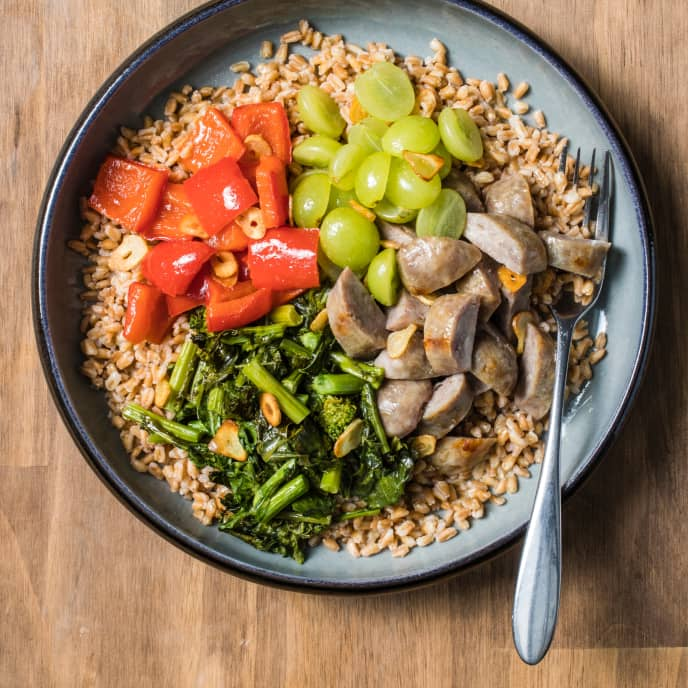 Farro Bowl with Vegetables and Sausage